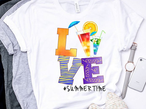 SUBLIMATED TEE Short or Long Sleeve LOVE Summertime Cocktail