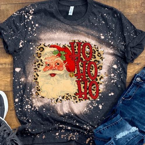 BLEACHED TEE Short or Long Sleeve Christmas Santa Ho Ho Ho Leopard
