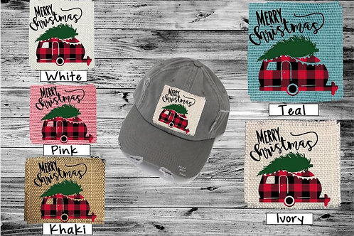 Sublimated Trucker Hats Many Colors Merry Christmas Plaid Camper