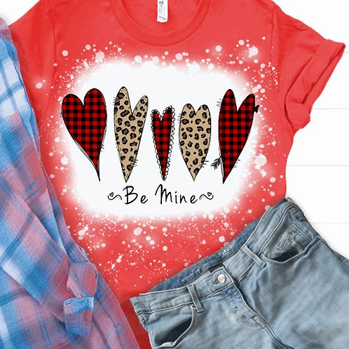 BLEACHED TEE Short or Long Sleeve Valentine Red Plaid 5 Hearts