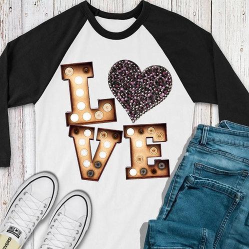 SUBLIMATED TEE RAGLAN LOVE Valentine's Love Marquee Rhinestone Heart
