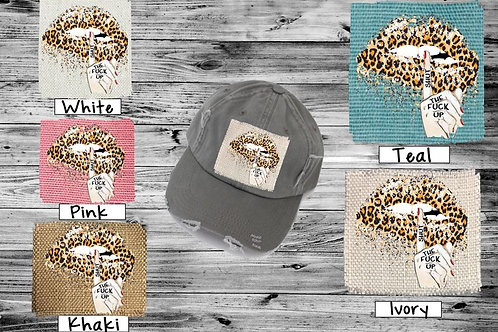 Sublimated Trucker Hats Many Colors Shut the F up Glitter Lips