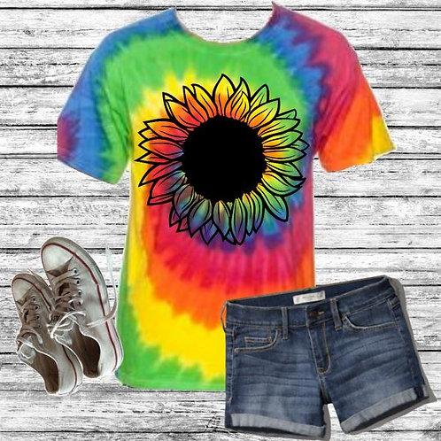 Graphic Tie Dye TEE Short Sunflower Handdrawn Pastel Neon