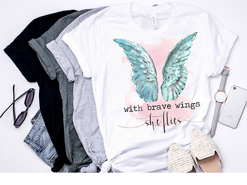 SUBLIMATED TEE Short or Long Sleeve With Brave Wings