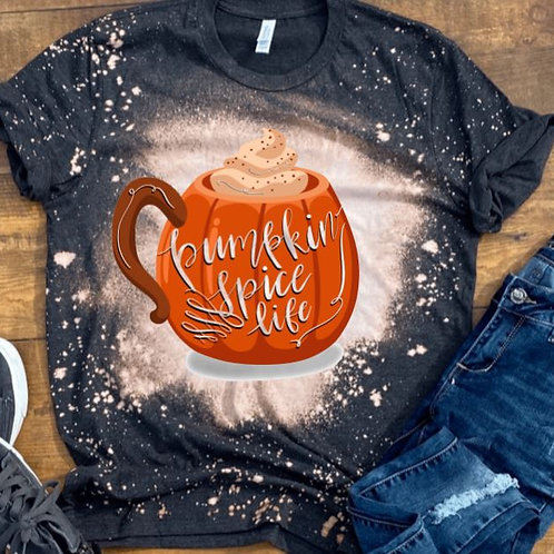 BLEACHED TEE Short or Long Sleeve Pumpkin Cup Spice Life
