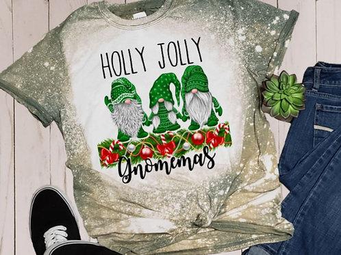 BLEACHED TEE Short or Long Sleeve Christmas Holly Jolly Gnomemas