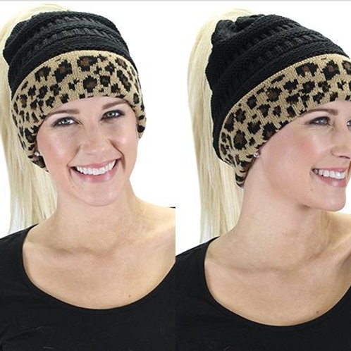 CC Ponytail Leopard Beanie Black