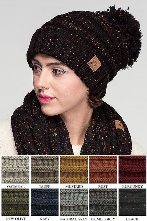 CC Oversize Cable Knit Confetti Hat with Pom Pom Beanie Many Colors