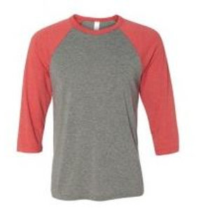 Bella & Canvas Unisex 3/4 Sleeve Raglan Tee Red Triblend/Heather