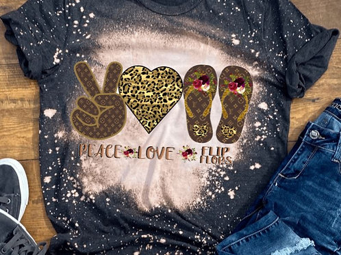 BLEACHED TEE Short or Long Sleeve LV Peace Love Flip Flops