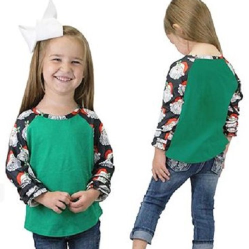 Christmas Raglan 3/4 Sleeve Shirts Youth Green