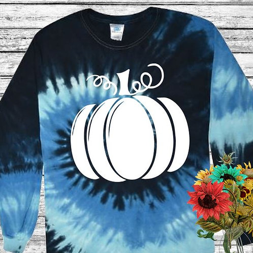 Graphic Tie Dye TEE Long Sleeve Pumpkin Solid in White MANY COLORS