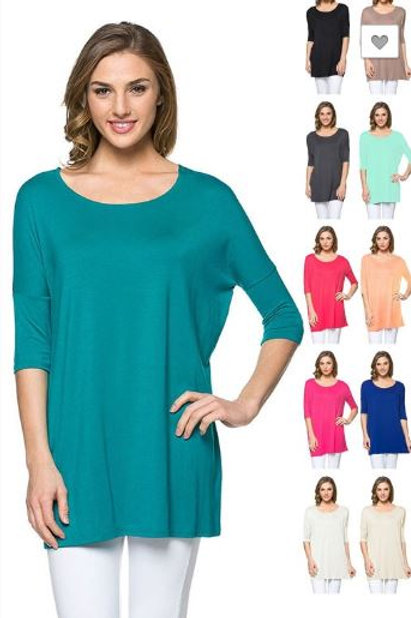 ELBOW SLEEVE BN LOOSE FIT TOP Tunic All Colors S - XL