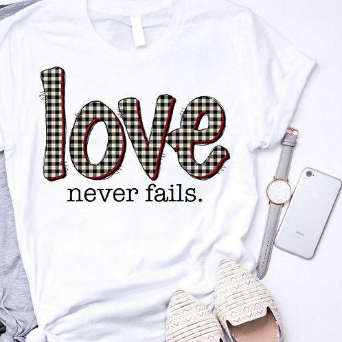 SUBLIMATED TEE Short or Long Sleeve Valentine's Love Never Fails Plaid