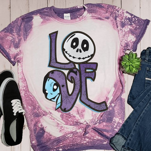 BLEACHED TEE Short or Long Sleeve Love Jack Skellington Purple