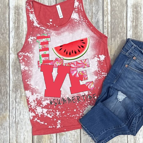 BLEACHED TANK TOP or TEE Love Watermelon
