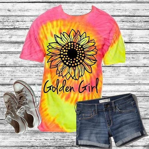 Graphic Tie Dye TEE Short Sunflower Flo Swirl Golden Girl