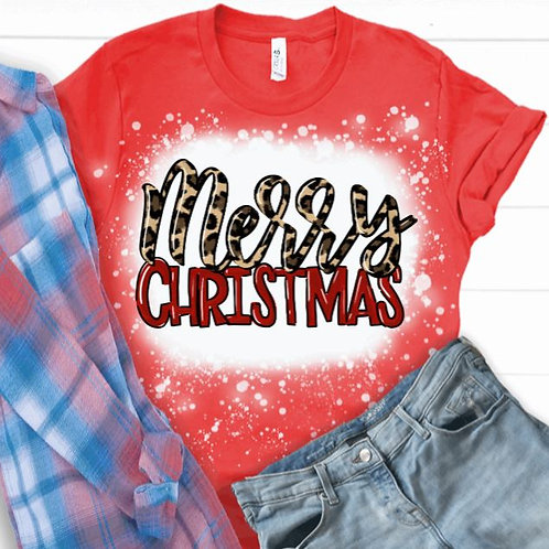 BLEACHED TEE Short or Long Sleeve Merry Christmas Leopard