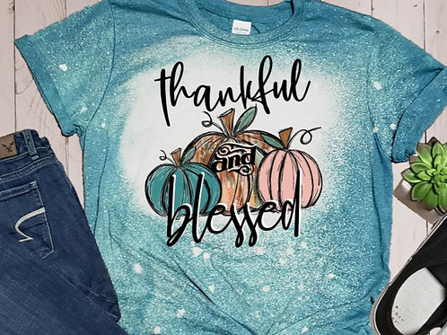 BLEACHED TEE Short or Long Sleeve Thankful Blessed 3 Pumpkins