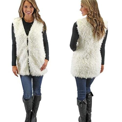 Fur Vest with Pockets White