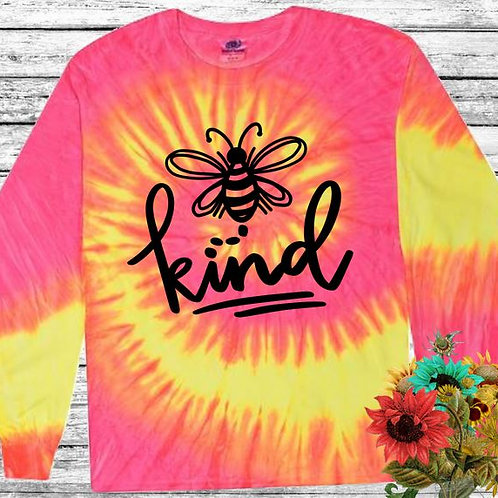 Graphic Tie Dye TEE Long Sleeve Be Kind Flo Swirl