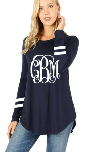 GRAPHIC TEE Tunic Long Sleeve Navy Team or Monogram