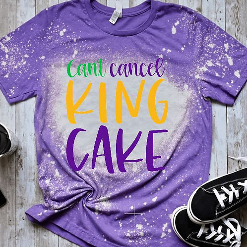 BLEACHED TEE Short or Long Sleeve Mardi Gras Can't Cancel King Cake