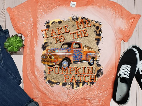 BLEACHED TEE Short or Long Sleeve Take Me To The Pumpkin Patch Orange Truck
