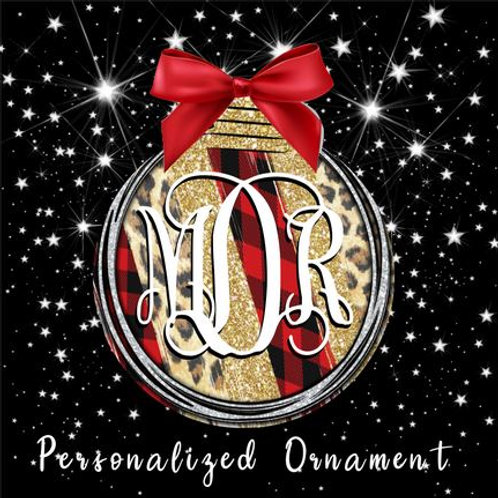 SUBLIMATED Christmas Ornament - Ball Leopard Red Monogram ANY Initials