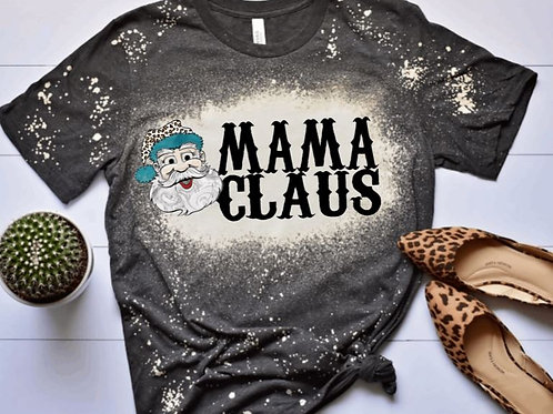 BLEACHED TEE Short or Long Sleeve Leopard Christmas Santa Mama Claus ANY NAME