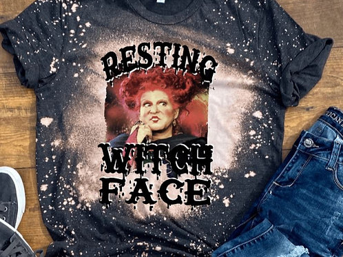 BLEACHED TEE Short or Long Sleeve Resting Witch Face