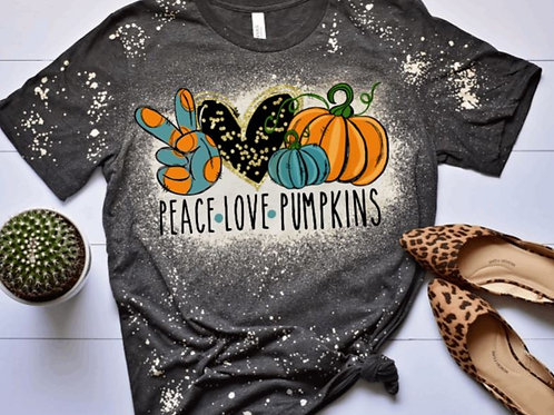BLEACHED TEE Short or Long Sleeve Peace Love Pumpkins