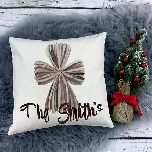 Personalized SUBLIMATED Pillow Covers Watercolor Cross Family Name