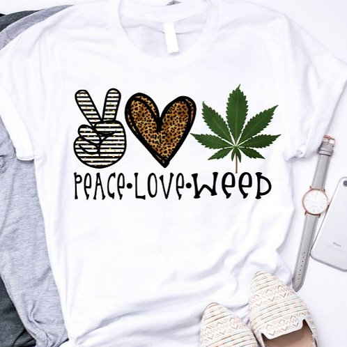 SUBLIMATED TEE Short or Long Sleeve Peace Love Weed