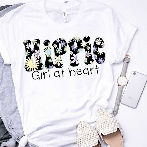 SUBLIMATED TEE Short or Long Sleeve Hippie Girl at Heart Black