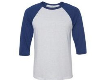 Bella & Canvas Unisex 3/4 Sleeve Raglan Tee Navy Triblend/White
