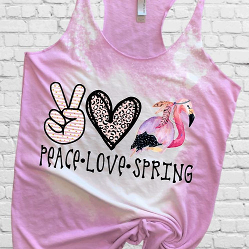 BLEACHED TANK TOP or TEE Peace Love Spring