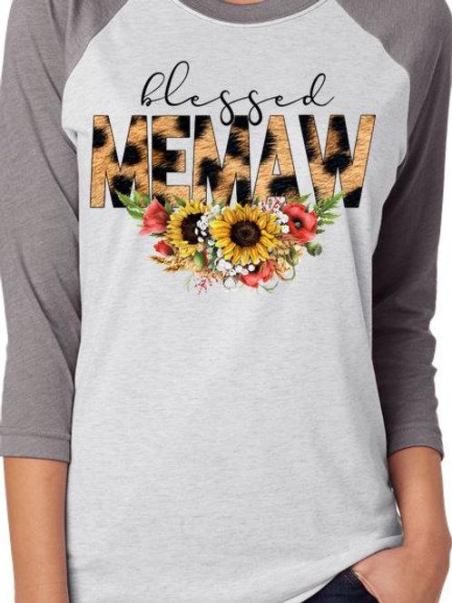 SUBLIMATED TEE RAGLAN Blessed MEMAW Leopard Sunflower