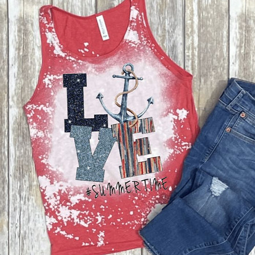 BLEACHED TANK TOP or TEE Love Anchor