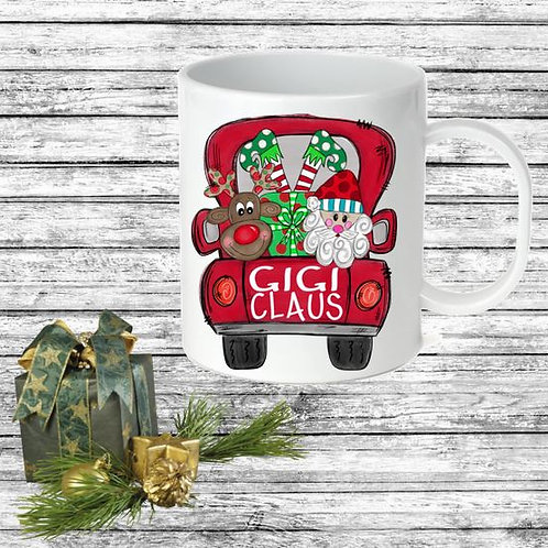 SUBLIMATED Coffee Mug - Christmas Truck ANY NAME