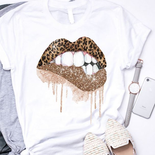 SUBLIMATED TEE Short Sleeve or Tank Dripping Glitter Leopard Lips