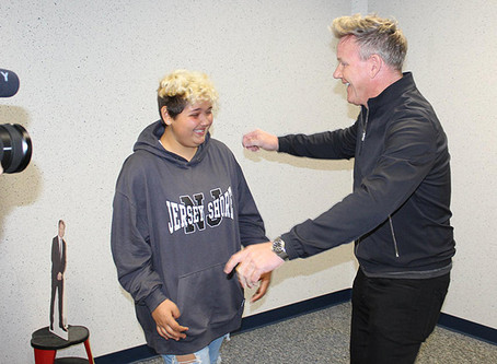 CHEF GORDON RAMSAY SURPRISES 12-year old FAN AND CANCER WARRIOR KALLISTA FLORES