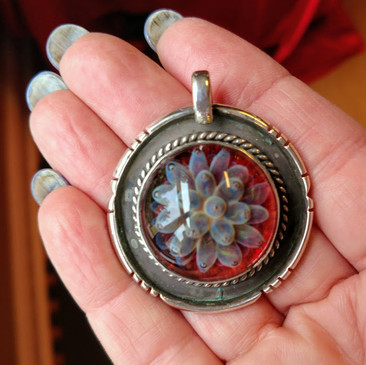 Sterling silver pendant with boro cab  $85