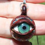 Evil Eye boro eye pendant -Handmade evil eye with sterling silver bail!