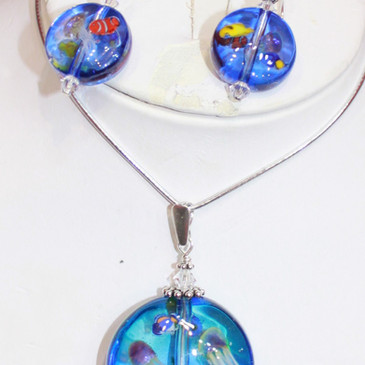 Aquarium pendant and earring set.  Earrings $40 Pendant $60