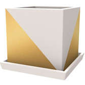 Gold Cube Planter Painted