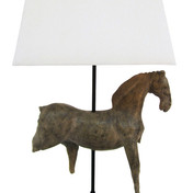 Small Horse Sculpture Lamp in Brown
