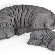 Shar Pei Dogs Sculpture