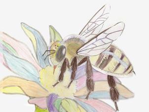 巨大なミツバチを描きました。