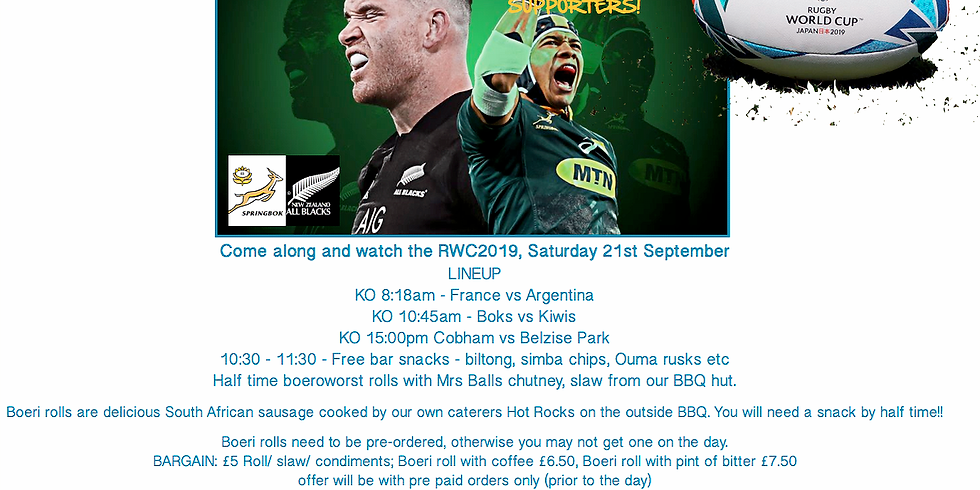 RWC 2019 - Saturday 21st September, Book your Boeri roll now!